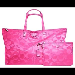 Hot Pink Foldable Coach Tote Purse